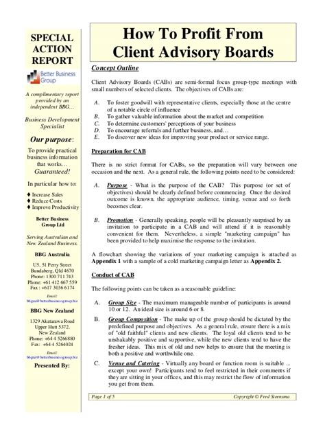 appointment letter advisory board how to profit from client advisory boards