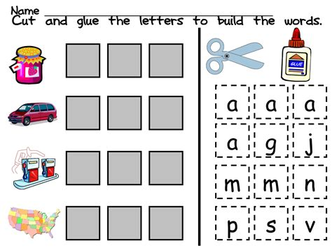 cut and paste phonics worksheets for grade telling cvc cut and paste worksheets for