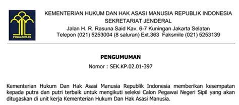 Hukum Kepegawaian Di Indonesia Eds 2 pendaftaran cpns kementrian hukum dan ham 2014