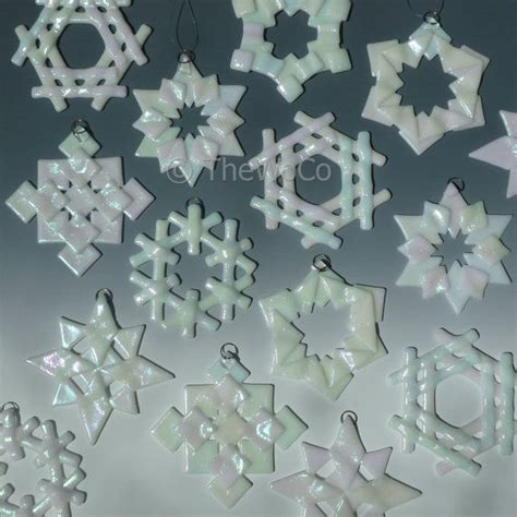 prism white iridized snowflake fused glass ornament