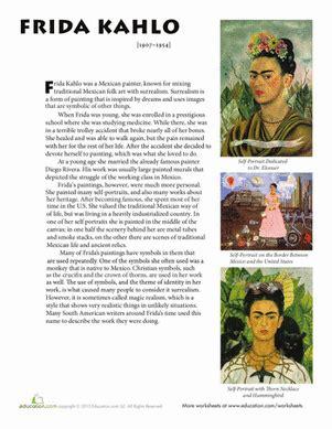 famous artist biography worksheet frida kahlo biography frida kahlo art history and