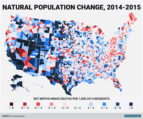 america population map census change county map business insider
