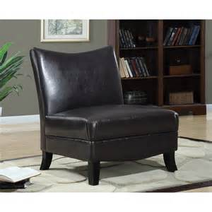 Brown Slipper Chair Dark Brown Leather Look Accent Chair Free Shipping Today