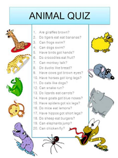 printable animal trivia english goodie bag animal quiz