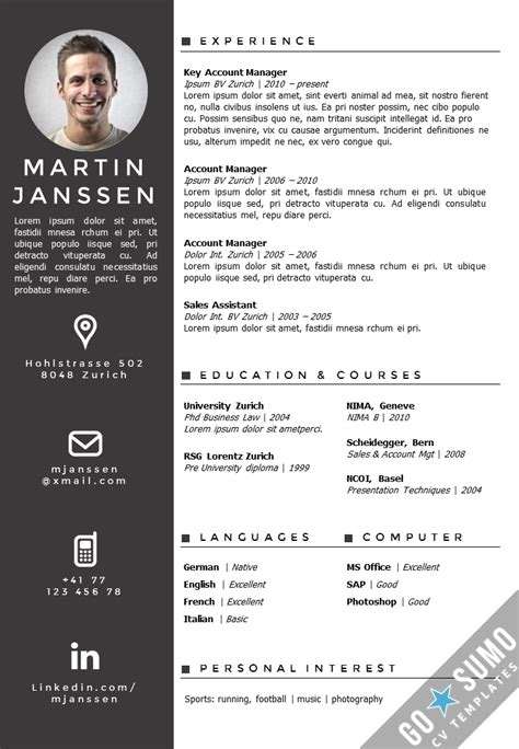 templates of cv cv template zurich