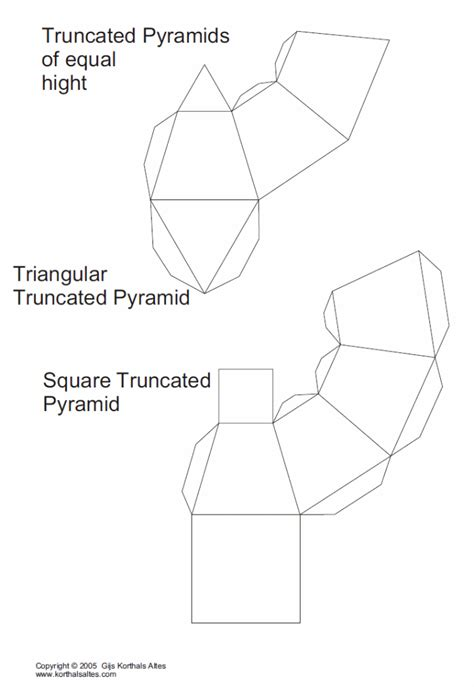 3d Paper Folding Templates - net truncated triangular pyramid templates paper