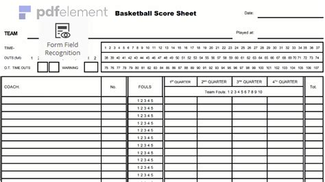 Basketball Score Sheet Free Download Create Edit Fill Print Wondershare Pdfelement Score Sheet Template Excel