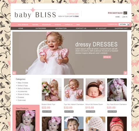 Baby Bliss Ezboutique 174 Ecommerce Web Design Ezboutique 174 Web Design Stylish Affordable Free Boutique Templates For Website