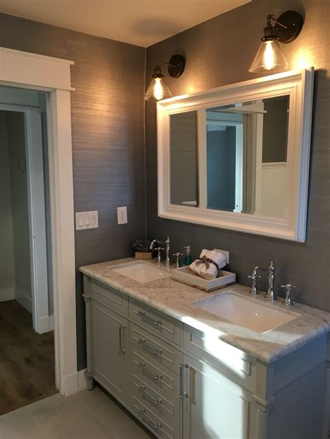 grasscloth bathroom beautiful gray bathroom with marble counter top and