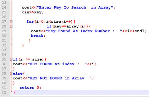 pattern exles in c language linear search in c program exle code c