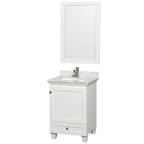 wyndham collection wcv800024sescxsxxm24 acclaim 24 wyndham collection acclaim 24 in vanity in white with marble vanity top in carrara white