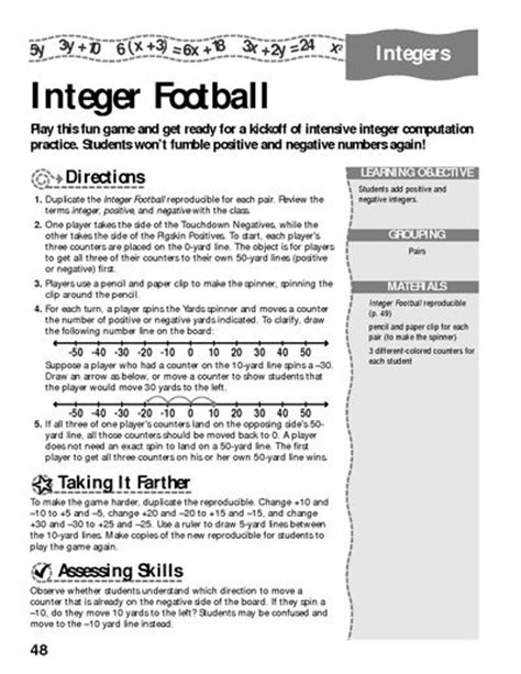 printable integer games integers football and worksheets on pinterest