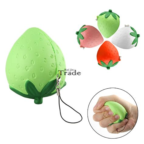 Squishy Strawberry Bulat 6 Cm 1pcs new kawaii squishy strawberry soft rising 8cm cellphone key straps child