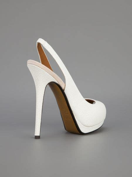 fendi peep toe pump  white lyst