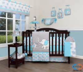Baby Boy Bedding Sets Elephant Baby Blizzard Blue Grey Elephant 13 Nursery Crib
