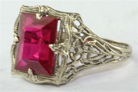 vintage antque 14k white gold filigree ring with big red