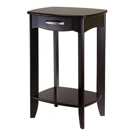 espresso accent table shop winsome wood danica dark espresso end table at lowes com