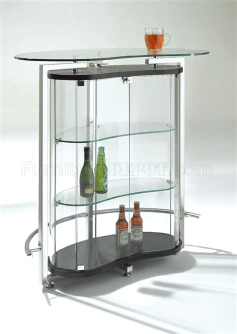 clear glass contemporary bar table w cromed metal frame