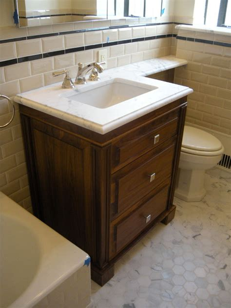 3 drawer walnut vanity traditional bathroom vanities