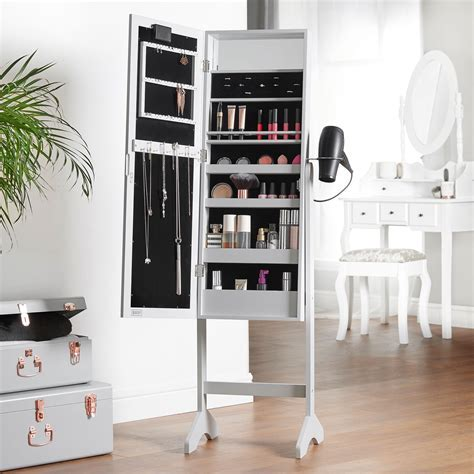 Beautify Grey Full Length LED Makeup Jewellery Organiser