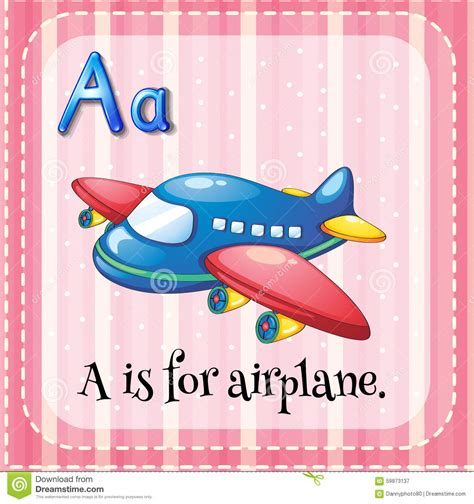 for a flashcard alphabet a is for airplane stock vector image
