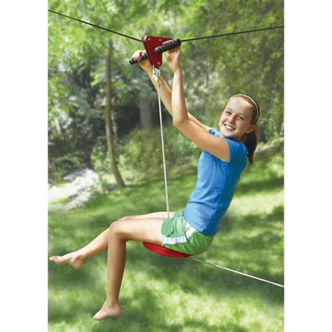 the seated backyard zipline kit hammacher schlemmer