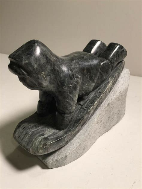 Soapstone Canada by Vtg Ross Parkinson Soapstone Carving Sculpture Sledding