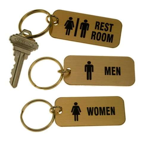 Lacquered Brass Rectangle Key Tag For Bathrooms