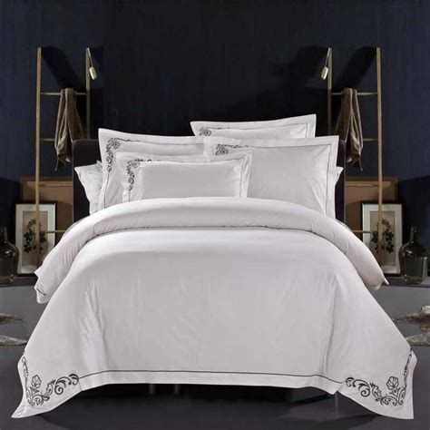 Bed Cover Wedding Import 7 100 cotton tribute silk wedding bedding set white embroidered hotel duvet cover set king
