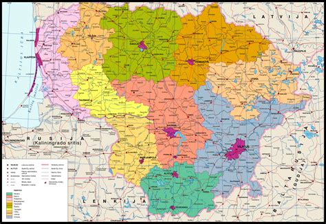 map of lithuania detailed administrative map of lithuania lithuania