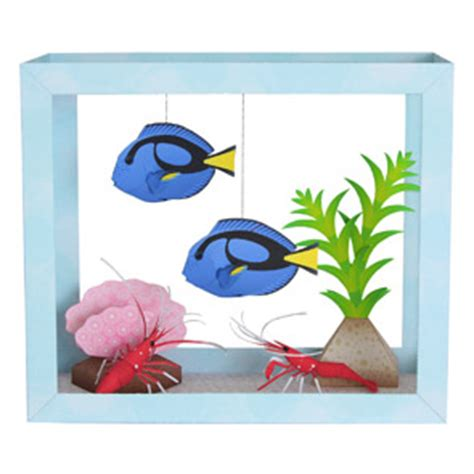 How To Make A Paper Aquarium - blue tang aquarium paper diorama terrain wizard