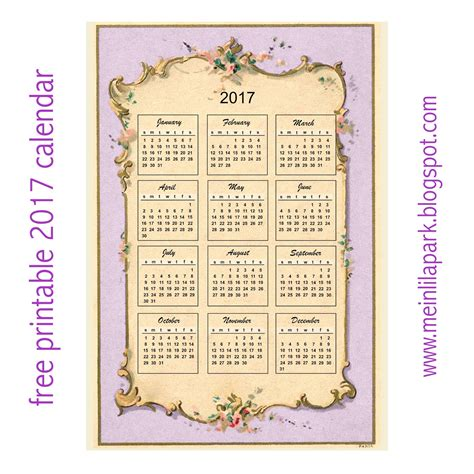 design calendar 2017 printable free printable 2017 vintage design calendar