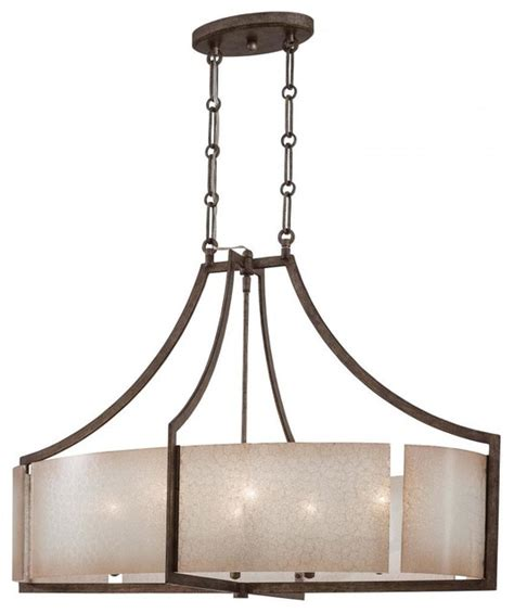 Oval Kitchen Island Lighting 6 Light Oval Pendant In Patina Iron Finish Transitional