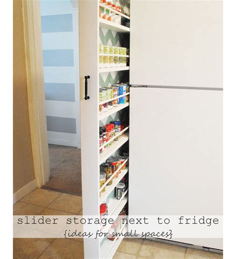 small apartment organization ideas slider storage next to your refrigerator diy small