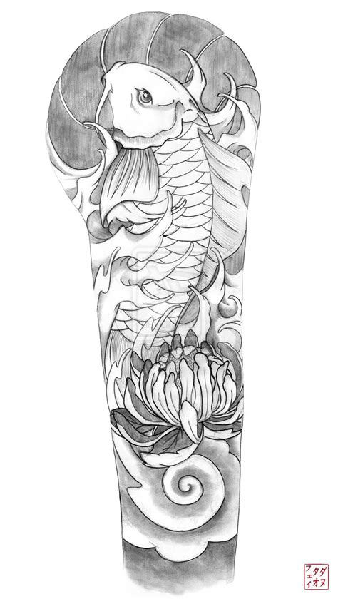 tattoo sleeve flash designs koi sleeve tattoos koi and sketch