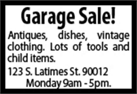 Garage Sale Classified Ad by Placeanad Latimes Garage Sales