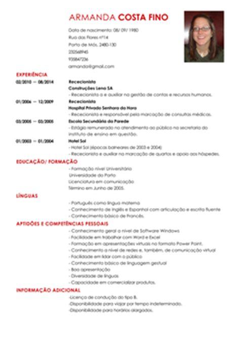 Modelo De Curriculum Vitae Para Completar Em Portugues Modelo De Curriculum Recepcionista Exemplo De Cv Livecareer
