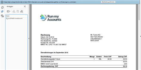 Rechnung Schweiz Dienstleistung Zugferd Run My Accounts Lanciert E Rechnung Der Zukunft