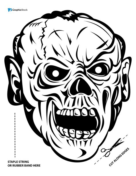 zombie mask coloring page printable halloween masks from stock graphics