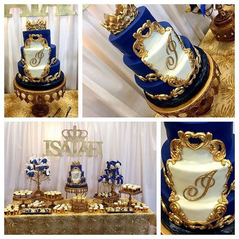 Royal Blue And Gold Baby Shower Decorations by Mulpix Royal Blue And Gold Baby Shower Dessert Table Fit