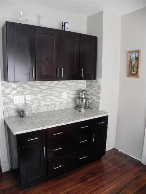 Black And White Kitchen Cabinet Designs by Bar Area With Our Mocha Shaker Cabinets And Handle Pulls