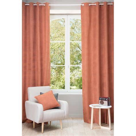 tenda arancione tenda ocra arancione con occhielli 140 x 300 cm chenille