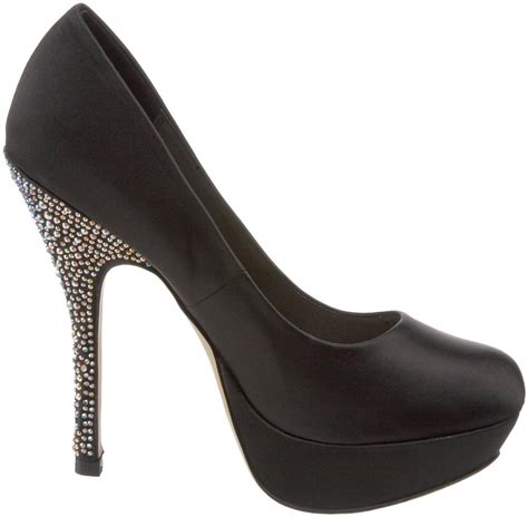 s shoes steve madden partyy platform pumps heels black satin sparkle 7 5 ebay