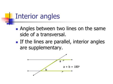 Interior Angles On Same Side Of Transversal by Ppt Angle Relationships Powerpoint Presentation Id 5684679