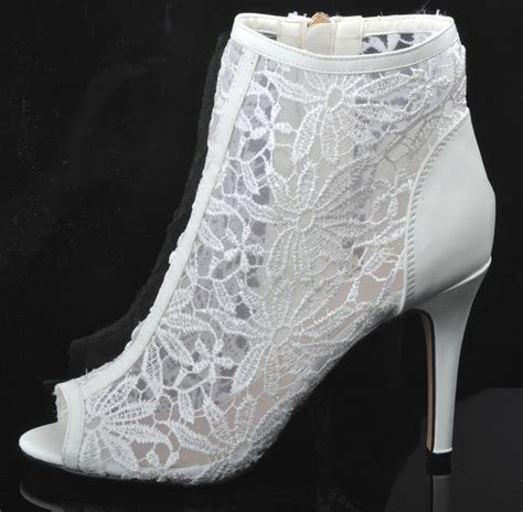 white wedding ankle boots new white lace wedding ankle boots heels peeptoe shoes
