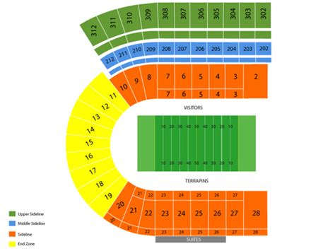 seating charts maryland terrapins athletics university maryland stadium seating chart events in college park md