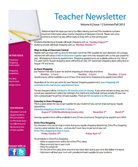 free templates for newsletters for teachers sle newsletter template 6 free documents
