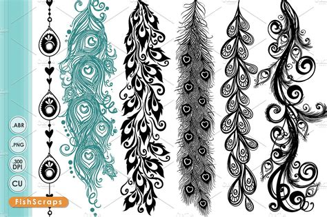 Wedding Border Photoshop Brushes by Peacock Borders Decorative Brushes Brushes Creative