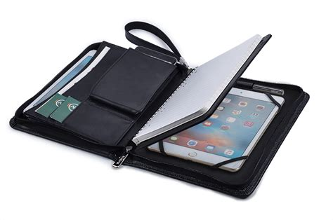 Casing Tablet leather organizer portfolio with wrist for 8
