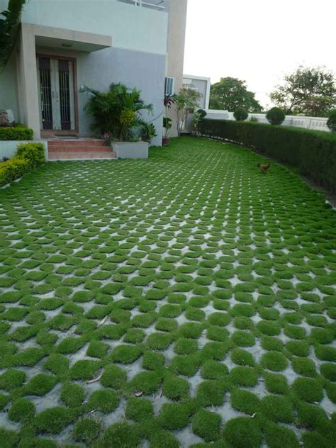 turf paving at a farmhouse in surat outdoors lawn